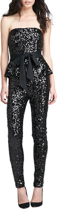 French Connection Spectacular Sparkle Peplum Jumpsuit