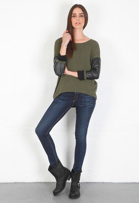 Singer22 Generation Love Bobo Leather Sleeved Sweatshirt