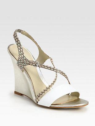 Elie Tahari Chelsea Snake-Embossed Leather Wedge Sandals