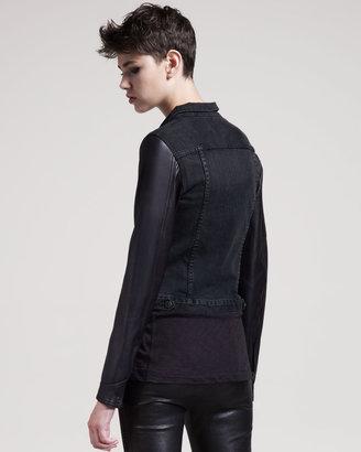 Rag and Bone Rock Leather-Trim Jean Jacket