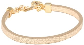 Juicy Couture Single Wrap Padlock Leather Bracelet (Gold) - Jewelry