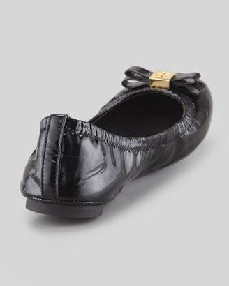 Tory Burch Eddie Logo Bow Patent Ballerina Flat, Black