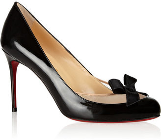 Christian Louboutin Filove 85 patent-leather and mesh pumps