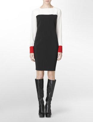 Calvin Klein Long Sleeve Colorblock Silk Shift Dress