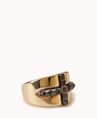 Forever 21 Pyramid Studded Cross Ring