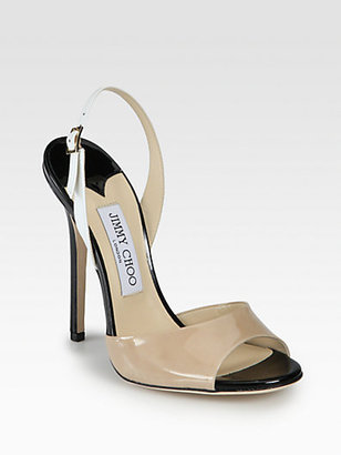 Jimmy Choo Colorblock Patent Leather Slingback Sandals