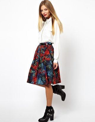 Asos Midi Skirt in Animal Baroque Print