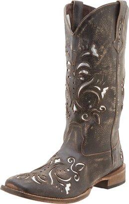 Roper Women's Laser Cut Metallic Underlay Boot Tan/Silver 10.5 M