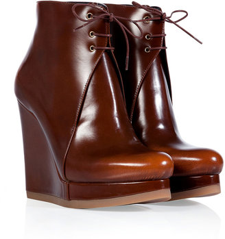 Jil Sander Hazelnut Leather Wedge Booties
