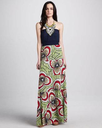 T-Bags T Bags Beaded Halter Maxi Dress