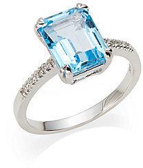 Saks Fifth Avenue Blue Topaz, Diamond & 14K White Gold Ring