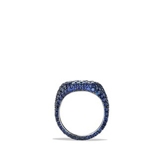 David Yurman Pavé Pinky Ring with Sapphires in White Gold