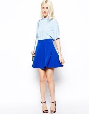 Asos Woven Skater Vintage Skirt - Blue
