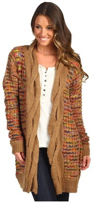 D.E.P.T Cable Detail Multicolor Cardigan (Warm Camel) - Apparel