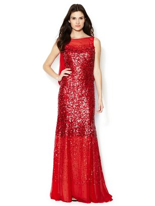 Silk Sequin Draped Chiffon Cowl Back Gown
