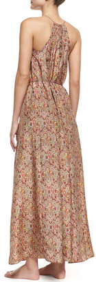 Zimmermann Sundown Silk Paisley Halter Coverup Maxi Dress