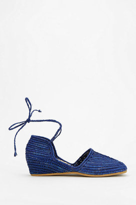 Urban Outfitters Proud Mary Raffia Lace-Up Wedge