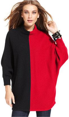 Style&Co. Sweater, Dolman-Sleeve Colorblock Mock Turtleneck