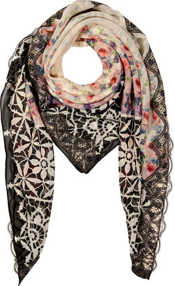 Anna Sui Black-Multi Rose Print Silk Scarf