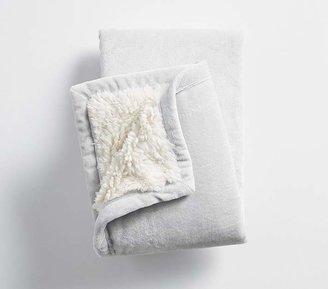 Sherpa Baby Blanket, Gray/Ivory