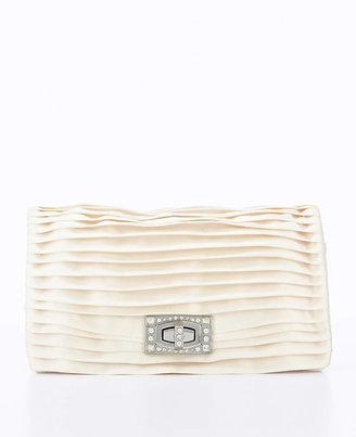 Ann Taylor Pleated Pave Turnlock Satin Clutch
