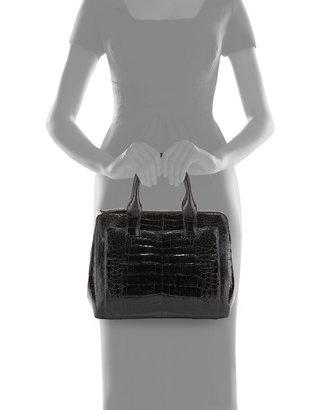 Nancy Gonzalez Small Modern Double-Zip Crocodile Tote Bag, Black