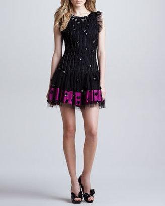 RED Valentino Embellished Dropped-Waist Dress, Black/Multicolor