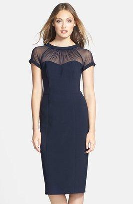 Women's Maggy London Illusion Yoke Crepe Sheath Dress $148 thestylecure.com