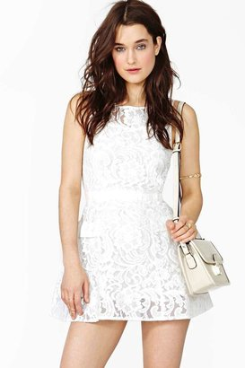 Nasty Gal Veiled Lace Dress - White