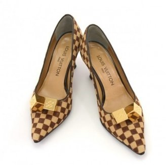 Louis Vuitton excellent (EX Brown Damier Sauvage Pony Leather Heel Shoes 35