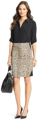 Diane von Furstenberg Emma Leopard Woven Pencil Skirt