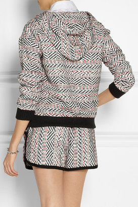 Sea Lace-trimmed cotton-blend tweed hooded sweatshirt