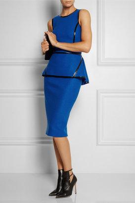 Michael Kors Patent-trimmed wool-felt peplum dress