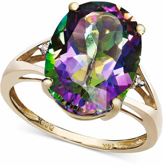 Macy's Mystic Topaz (7-1/6 ct. t.w.) and Diamond Accent Oval Ring in 14k Gold