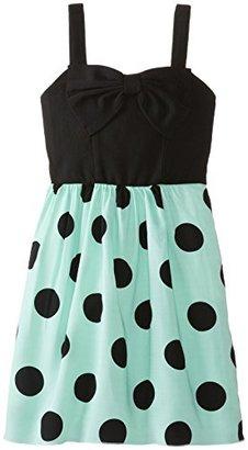 Ruby Rox Big Girls' Polka Dot Dress with Bow Top