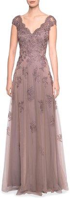 La Femme Embellished Floral Lace Cap-Sleeve Tulle A-Line Gown