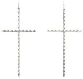 Charlotte Russe Large Rhinestone Cross Earrings
