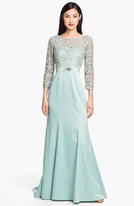 Adrianna Papell Embellished Lace & Satin Trumpet Gown