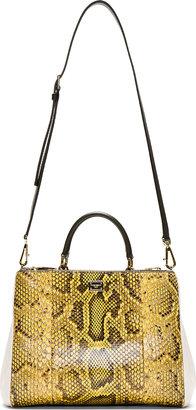 Dolce & Gabbana Yellow Python Miss Sicily Small Shoulder Bag