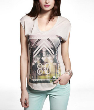 Express Open Back Mixed Fabric Graphic Tee - Aztec 80