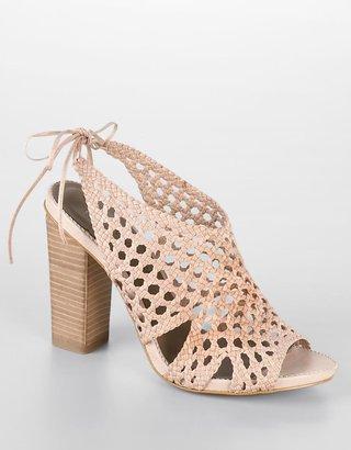 B. Makowsky Pat Woven Leather High-Heel Sandals