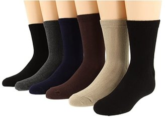 Jefferies Socks Rib Crew Sock Six Pair Pack (Infant/Toddler/Little Kid/Big Kid/Adult) (Black/Black/Charcoal/Chocolate/Khaki/Navy) Kids Shoes