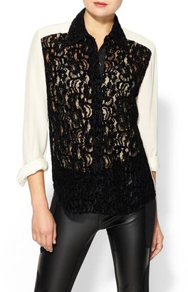 Tracy Reese Lace Front Silk Shirt