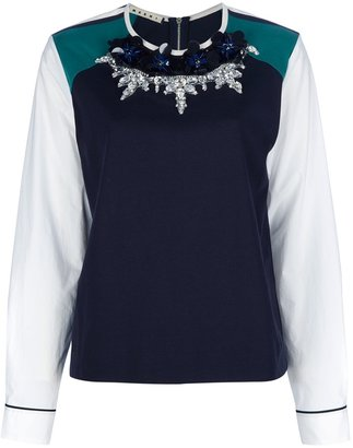 Marni Edition flower and bead embellished t-shirt