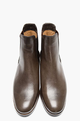 A.P.C. Dark Brown Leather Chelsea Boots