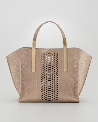 Z Spoke Zac Posen Danes Dry Python-Print Small Shopper Bag, Taupe