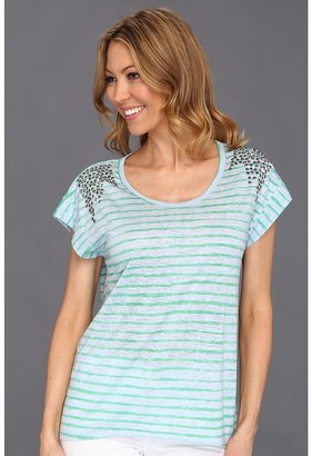 Vince Camuto TWO by Painter Stripe Tee w/ Studs (Field Green) - Apparel