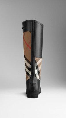 Burberry Check Panel Rain Boots