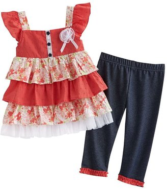 Little Lass tiered floral top & leggings set - toddler