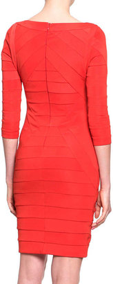 Just Cavalli 3/4-Sleeve Banded Jersey Dress, Red